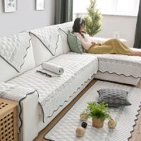 刺绣水洗棉纯色沙发垫四季通用