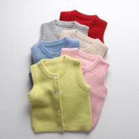 秋装羊毛衫男2女宝宝针织衫马甲0婴儿童背心开衫马夹毛衣1-3岁4 80CM S