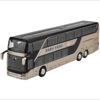 双层公交车巴士玩具车旅游大巴车合金语音回力儿童公共汽车模型
