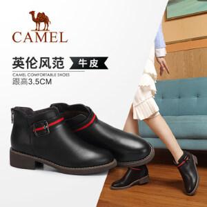 Camel/骆驼2018冬季新款 简约时尚质感粗跟耐磨防滑拉链短筒女靴