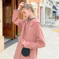 MG小象翻领加厚流行毛呢大衣女冬2019新款韩版宽松中长款呢子外套