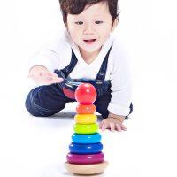 【当当自营】木玩世家 彩虹宝塔 益智木制玩具 叠叠高 1周岁生日礼物 BH2203