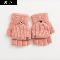 手套女冬天学生翻盖半指时尚韩版冬季露指加厚保暖写字男毛线手套