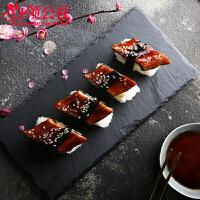 白领公社 寿司盘 创意岩石盘简约餐盘托盘拼盘平盘家用长方形黑色菜盘展示摆盘烤肉盘子