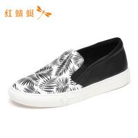 红蜻蜓情侣款春季新款潮流印花休闲舒适单鞋时尚休闲