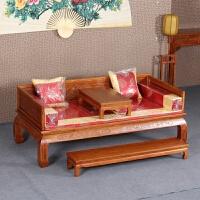 罗汉床实木新中式仿古家具 榆木雕花实木罗汉床榻 客厅沙发三件套 山水罗汉床三件套配垫