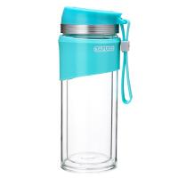 日本泰福高便携带盖带绳随手杯 创意学生水杯防漏随身玻璃泡茶杯(绿色)