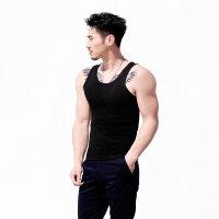 男士背心螺纹修身型运动健身无袖纯色紧身弹力工字打底衫夏
