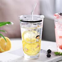 光一小清新玻璃杯简约少女学生吸管式刻度夏季奶茶牛奶家用带盖水杯子