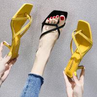 时尚高跟凉拖鞋女外穿户外时尚细跟人字拖百搭