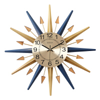 钟表挂钟客厅北欧时尚创意挂钟卧室家用挂表现代简约个性大气时钟 幸运星(经典蓝)-旗舰版 74*74CM 其他