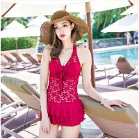 游泳衣女性感泳装遮肚显瘦温泉泳衣 连体裙式大小胸钢托聚拢