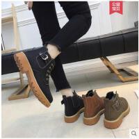 加绒马丁靴女英伦风学生韩版百搭冬季新款chic短筒靴短靴女鞋