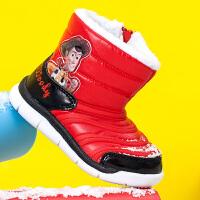 迪士尼儿童雪地靴女童靴子男童棉靴2018冬季加绒保暖防水宝宝短靴