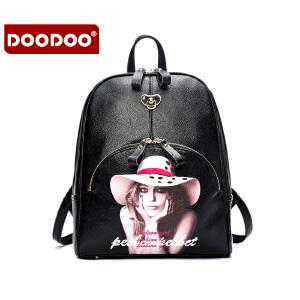 【支持礼品卡】DOODOO 2017新款时尚双肩包日韩插画背包潮流风范学院风百搭女款书包旅行包 D6022
