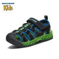 斯凯奇(Skechers)男童凉鞋 魔术贴沙滩闪灯鞋 包头渔夫鞋90707L
