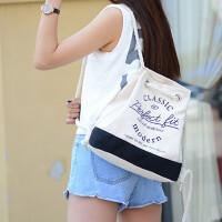 女包双肩包复古休闲时尚韩版手提单肩包多功能两用帆布包袋环保布袋