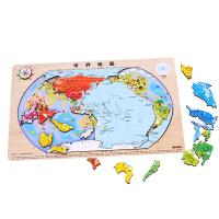 【当当自营】木玩世家世界地图地理拼图拼板动物认知益智木制3岁以上儿童智力木制积木玩具B2512