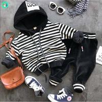 童装男童卫衣套装1-3-5岁7春装2018新款韩版儿童宝宝运动两件套潮 黑色 加绒款