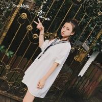 夏装2018新款女小清新学院风chic娃娃裙小个子海军风学生连衣裙 均码