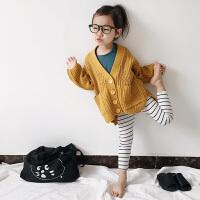 春季男女童粗线针织衫儿童宽松慵懒开衫韩版2-3-4-5-6岁毛衣外套 现货秒发 黄色