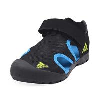 【1件4折】阿迪达斯(adidas)童鞋夏季新款男女童运动凉鞋儿童沙滩包头凉鞋F97312 黑/蓝色