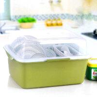 带盖欧式沥水碗架/餐具收纳盒-深绿色(A241-4)