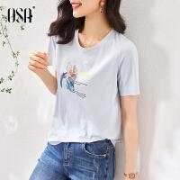 OSA蓝色短袖T恤女夏季2021年新款时尚百搭休闲印花体恤圆领上衣潮