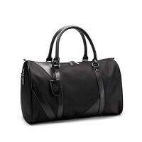 津布女单肩男士旅行包袋手提包大容量尼龙男出差短途行李包运动 黑色