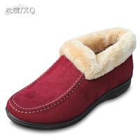 欣清2016新款老北京布鞋女士棉鞋室内保暖居家鞋 坡跟雪地靴 短靴妈妈鞋棉鞋