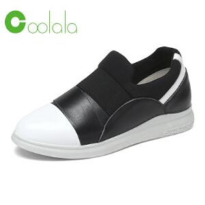 红蜻蜓coolala 2017春季新款真皮牛皮休闲板鞋 舒适平底鞋女单鞋