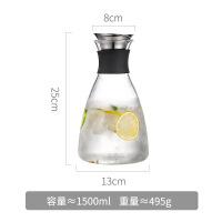 凉水瓶家用耐热耐高温玻璃冷水壶白开水杯大容量冰果汁瓶防爆扎壶