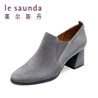 莱尔斯丹 冬季踝靴百搭粗高跟深口靴中跟短靴踝靴68804