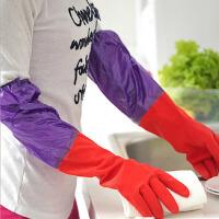 加长款加绒保暖胶橡胶皮手套厨房耐用刷碗洗衣衣服胶皮塑胶清洁家务洗衣服胶手套颜色随机