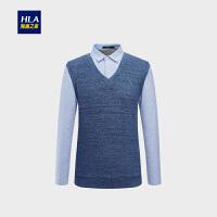 HLA/海澜之家加绒双领针织衫2018冬季新品休闲保暖长袖针织衫男