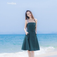 2018夏季新款女装修身显瘦露肩时尚气质腰带吊带连衣裙中长款裙子 墨绿色
