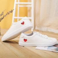 学院风休闲板鞋新款女士小白鞋 原宿ulzzang百搭帆布鞋红爱心系带板鞋