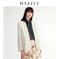 DAZZLE地素 19春装新款洋气干练胶印字母条纹西装外套女2G1F2022J