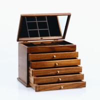 木质首饰盒欧式实木手饰盒首饰收纳盒抽屉式绒布多层首饰箱