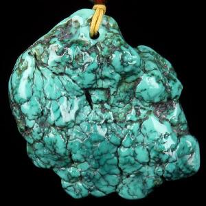 原矿高瓷绿松石原石吊坠 重13.04g(含链)