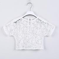 韩版童装女童连衣裙夏装纯棉公主中大童子海边度假沙滩长裙 白色 (蕾丝罩衫) 150cm