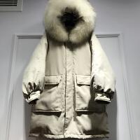 反季冬装宽松超大毛领羽绒服女中长款加厚连帽外套