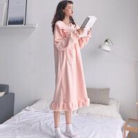 秋冬韩版甜美公主睡裙可爱法兰绒宽松加厚性感长袖睡衣长款裙子女 粉色 均码
