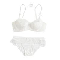 夏季日系蕾丝文胸套装女士内衣半透明性感小胸聚拢胸罩棉质