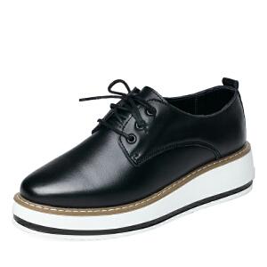 秋季新款厚底松糕鞋增高小白鞋女真皮休闲鞋女英伦平底跑步单鞋