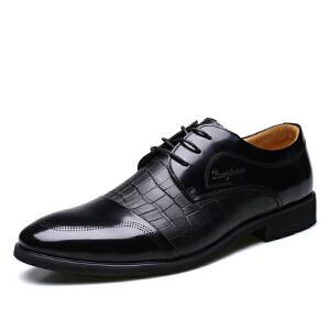 宜驰 EGCHI 商务休闲正装皮鞋男鞋鳄鱼纹休闲皮鞋 36173