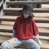 长袖t恤女秋季2018新款韩版宽松撞色拼接假两件打底衫学生上衣服