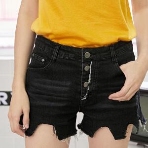 PASS2018新款夏装下摆不规则牛仔短裤女显瘦百搭学生热裤超火裤子