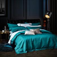 LOVO家纺 60支提花贡缎四件套简约轻奢床单被套 玛蒂