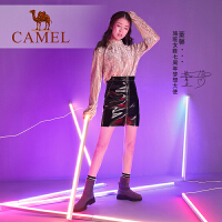 camel骆驼女鞋新款冬季加绒短靴女袜子鞋女瘦瘦靴中跟女靴子袜靴女